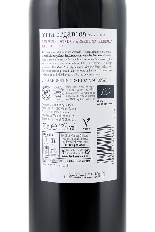 Back label of Terra Organica Malbec