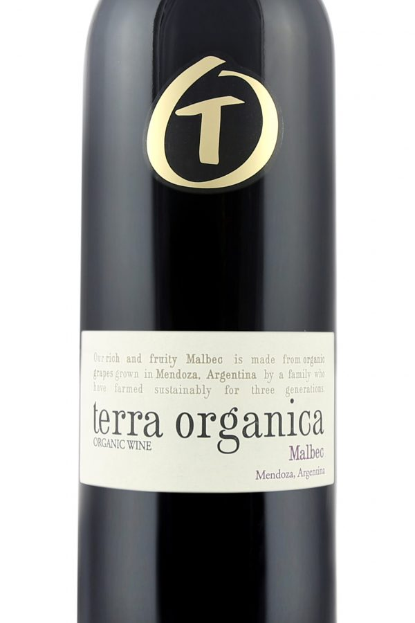 Close up of Terra Organica Malbec label