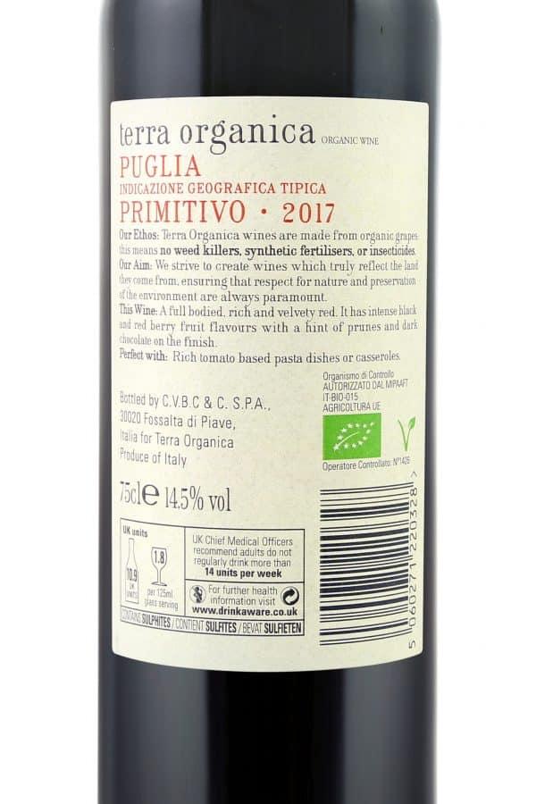 Back label of Terra Organica Primitivo