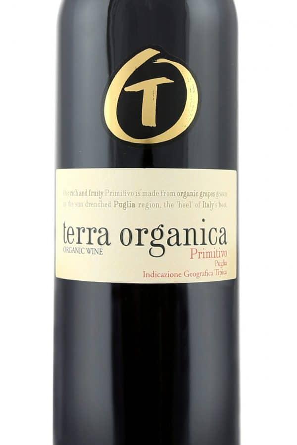 Close up of Terra Organica Primitivo label