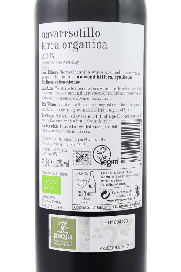 Back label of Terra Organica Rioja